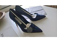 Manolo Blahniks size 5 (39) navy wedding shoes £175