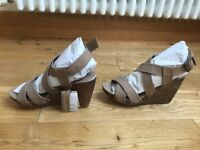 Mango leather wedge sandals size 5 brand new with tags