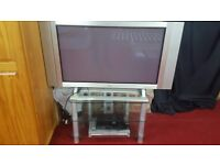 """42 """" tiny plasma tv with dvd player and freeview box and glass stand"""