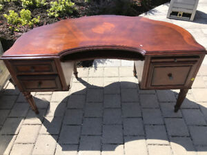 The desk. Classic wood desk from Ethan Allen