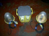 LARGE 5 KVA DEFENDER TRANSFORMER 110V WITH TWO SITE EGG LIGHTS