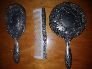 Spectacular vintage silver-plated Vanity Set: Mirror, Brush, and