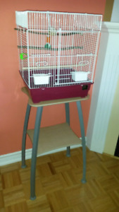 Bird cage with a stand