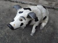 """Large carved wooden pig ideal for advertising / kitchen / garden , height 13"""""""