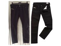 Diesel Mens Belther Slim Tapered Jeans Fit Stretch Black Jeans Size 31