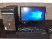 "hp 2.6ghz dual core 3gb ram 18.5"" monitor wifi win 10"