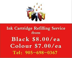 Ink Refill Service from $8.00/blk $7.00/col