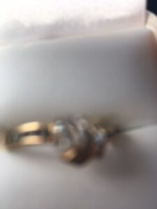 Diamond engagement and wedding band for sale.