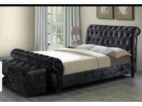 SLEIGH SILVER CRUSHED VELVET BEDROOMS UPHOLSTERED DESIGNER BEDS FRAMES SINGLE/DOUBLE