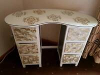 Vintage upcycled hand painted kidney shape dressing table