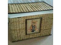 WICKER TOY BOX/STORAGE BOX WITH TEDDY BEAR DESIGN