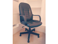 BLACK LEATHER OFFICE CHAIR   EXCELLENT CONDITION   £25