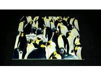 Beautiful penguins painted tile 14''x 11''