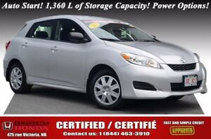2013 Toyota Matrix Auto Start! 1,360 L of Storage Capacity! Powe