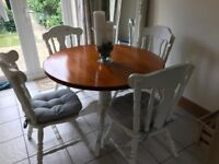 Shabby chic wooden round dining table and chairs
