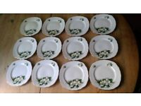 Crown Royal Set of 12 Bone China Saucers/Side Plates Gold Rims, Floral Design Pretty Edges
