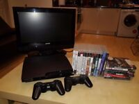 """Playstation 3, 19 games, 2 controllers, hdmi cable, 21"""" HD TV"""