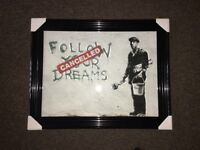 BANKSY (FOLLOW YOUR DREAMS) liquid art with SWAROVSKI crystal(BRAND NEW)