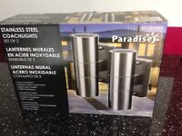 NEW Stainless Steel set of 2 Coachlights