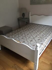 Double Bed solid pine painted white and mattress