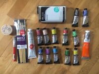Set of Daler Rowney Georgian Oil Colours with brushes and solvent