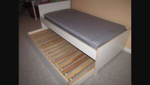 White IKEA bed and trundle