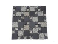 Rippled glass with black polished metal, Random Mosaic Tile