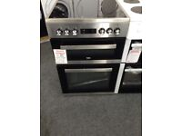 Beko electric double oven. Stainless steel and black. Digital display. RRP £493