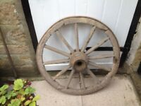 Vintage Large old wooden cart wheel