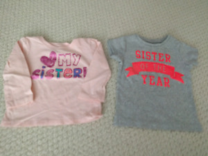 Carter's and Children's Place sister shirts - size 2
