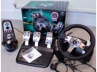 Logitech G25 Racing Wheel, Pedals, Gear shifter Ps2/3 Pc