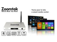 Zoomtak Android tv box with 1 year IPTV Mag Gift