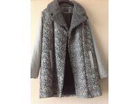 Next girls leopard/herringbone print wool coat