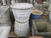 pair of round decorative stone/concrete garden pots/planters - Andy's Yard