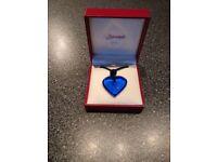 BACCARAT Cobalt Dark Blue A La Folie Crystal Heart Pendant Necklace