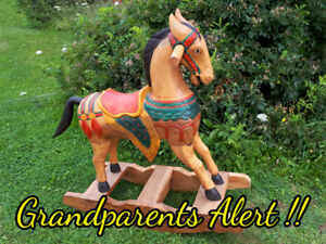 Antique hand-carved & painted Rocking Horse