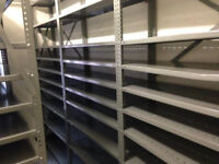 Racking of various sizes and metal cabinets for sale. From a former bank. Good condition