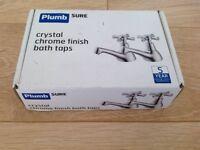 Plumbsure Crystal Chrome Finish Bath Taps New Boxed