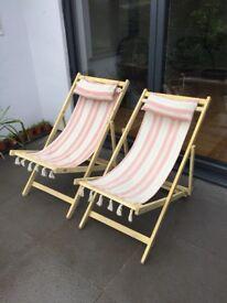 Pair of vintage deck chairs