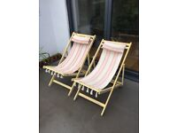 Pair of vintage deck chairs