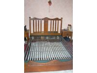 ARTS AND CRAFTS GOLDEN OAK DOUBLE BED WITH ORIGINAL SPRUNG BASE CIRCA 1910