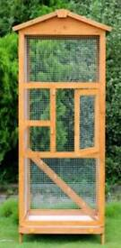 Large wooden bird aviary