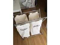 Luxury laundry bags and holder