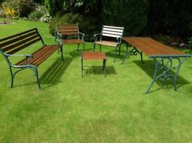 wrought iron and wood 5 pce garden set