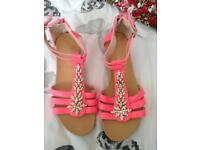 Pink diamond slight wedge sandals