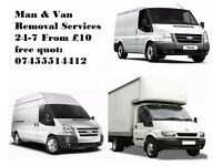 MAN & VAN REMOVAL SERVICE 24/7 FROM £10 M:07455514412