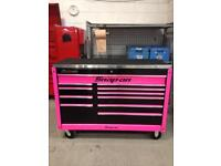 Snap on toolbox black with pink decors