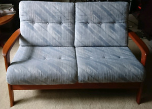 Mid century modern teak loveseat / couch /sofa.