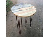 Reclaimed wood cafe round tables.