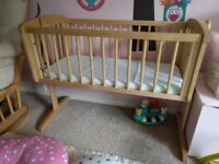 Swinging crib, immaculate condition.